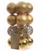 Feest ambiance christmas kerstboom decoratie kerstballen goud 16 x