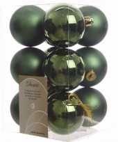 Feest ambiance christmas kerstboom decoratie kerstballen groen 12 x