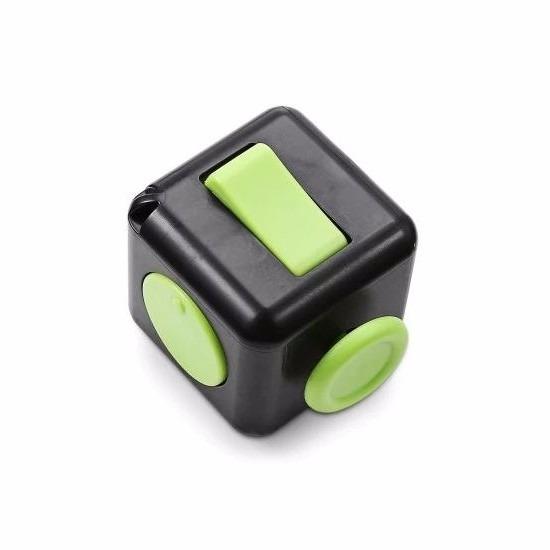 Feest anti stress kubus zwart groen 4 cm