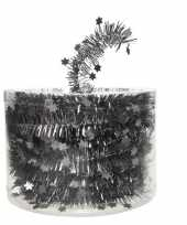 Feest antraciet kerstversiering folie slinger met ster 700 cm