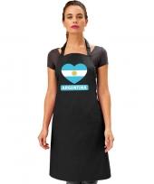 Feest argentinie hart vlag barbecueschort keukenschort zwart