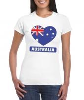 Feest australie hart vlag t-shirt wit dames