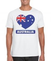 Feest australie hart vlag t-shirt wit heren
