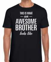 Feest awesome brother tekst t-shirt zwart heren
