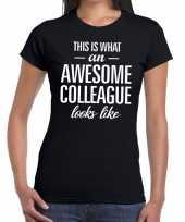 Feest awesome colleague tekst t-shirt zwart dames