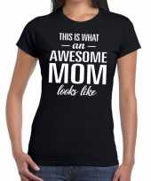 Feest awesome mom tekst t-shirt zwart dames
