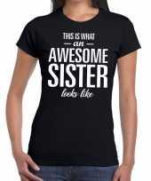 Feest awesome sister tekst t-shirt zwart dames