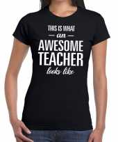 Feest awesome teacher tekst t-shirt zwart dames
