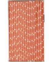 Feest babyshower oranje rietjes met ster van papier