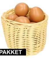 Feest beige paasmandje met eieren naturel 14 cm