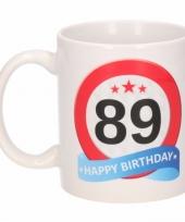 Feest beker mok 89 jaar verkeersbord