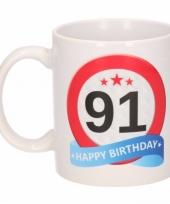 Feest beker mok 91 jaar verkeersbord