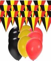 Feest belgie supporter versiering slingers 20 meter en 60x ballonnen
