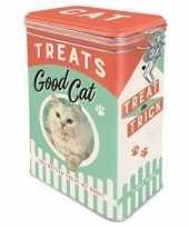 Feest bewaarblik voorraadblik voor kattensnoepjes 18 cm