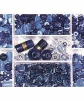 Feest bewaardoosje met donkerblauwe glaskralen