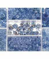 Feest bewaardoosje met lichtblauwe glaskralen