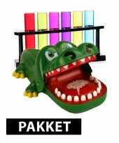 Feest bijtende krokodil spel plus 6 gekleurde shotglaasjes