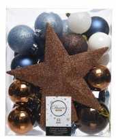 Feest blauw bruin wit kerstballen pakket met piek 33 stuks