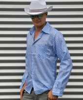 Feest blauw cowboy overhemd met ruitjes