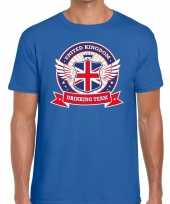Feest blauw engeland drinking team t-shirt heren