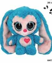 Feest blauw konijnen knuffeltje met muziek 20 cm