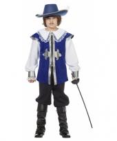 Feest blauw musketier pak voor kinderen