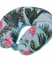 Feest blauw nekkussen reiskussen en slaapmasker flamingos