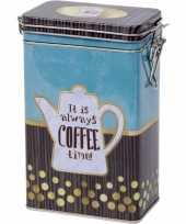 Feest blauw rechthoekig koffieblik bewaarblik met print 19 cm