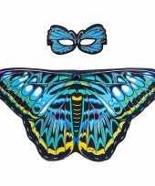 Feest blauwe aurelia vlinder verkleedset voor meisjes