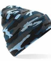Feest blauwe camouflage gebreide wintermuts voor volwassenen