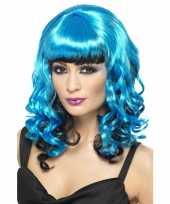 Feest blauwe dames pruik met krullen