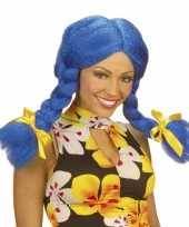 Feest blauwe dolly pruik voor dames