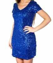 Feest blauwe glitter pailletten disco jurkje dames