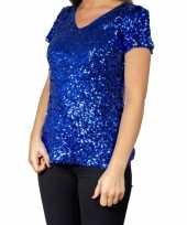 Feest blauwe glitter pailletten disco shirt dames