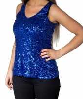 Feest blauwe glitter pailletten disco topje mouwloos shirt dames