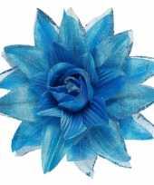 Feest blauwe haarbloem met glitters