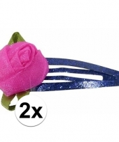 Feest blauwe haarspeldjes met roze roos