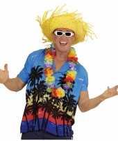 Feest blauwe hawaii verkleed blouse met palmboomprint voor heren