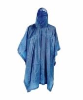 Feest blauwe herbruikbare regenponcho voor volwassenen