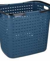 Feest blauwe hoge kunststof wasmand 45 liter