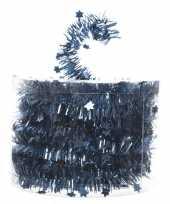 Feest blauwe kerstversiering folie slinger met ster 700 cm