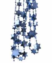 Feest blauwe kerstversiering ster kralenslinger 270 cm