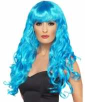 Feest blauwe krullenpruik dames