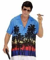 Feest blauwe maffiabaas verkleed blouse met palmboomprint voor heren
