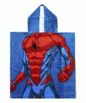 Feest blauwe marvel spiderman badcape met capuchon voor jongens