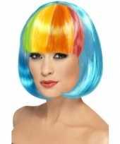 Feest blauwe pruik met regenboog pony