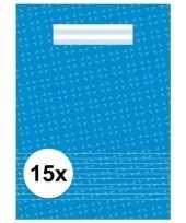Feest blauwe school schriften a4 met lijntjes 15 x