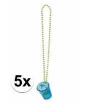 Feest blauwe shotglazen met een ketting hawaii thema 5x