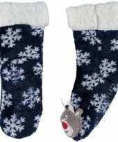 Feest blauwe warm gevoerde rendier kerst huissokken voor kinderen