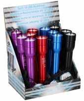Feest blauwe zaklamp aluminium 12 led lamp 20 cm